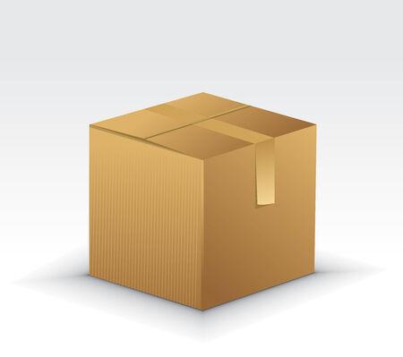 cajas de carton: Iconos de cajas de cart�n con ilustraci�n de vector de la caja de cart�n aislada sobre fondo blanco  Vectores