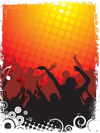 consept:  A crowd of party people vector with music consept Illustration