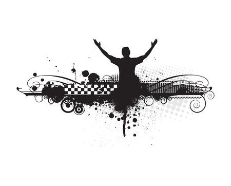 bras lev�: l'homme en levant les mains avec de fond urbain, illustration vectorielle