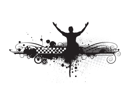 outstretched: man raising his hands with urban background,vector illustration  Illustration