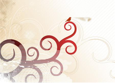Grunge flower background with waves, element for design, vector illustration Vector