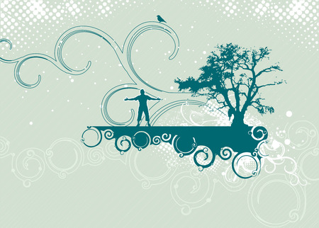 vector tree silhouette of grass and trees , street scene Vector