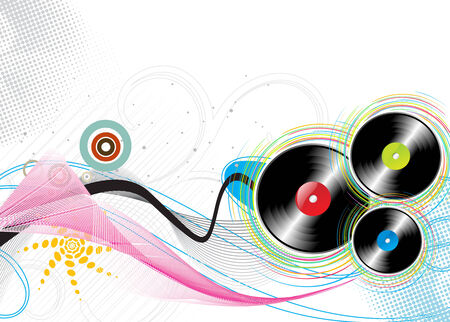 music disk on grunge-rainbow halftone background Stock Vector - 5513239