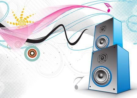 lien: 3d speaker on retro-rainbow wave lien background