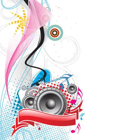 vintages: speaker on retro-rainbow wave lien background,vector,illustration