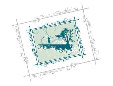 floral border vector tree silhouette of grass and trees , street scene Vector
