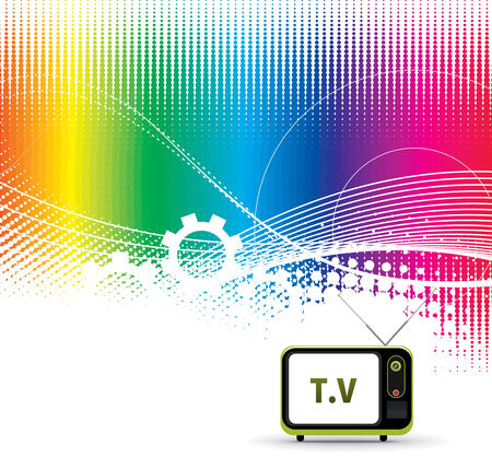 abstract wave  line vector rainbow composition with Retro television.  Vector