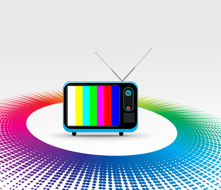 re: Retro television with grunge rainbow halftone background Illustration