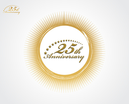 25th: 25th anniversary with halftone backgroud