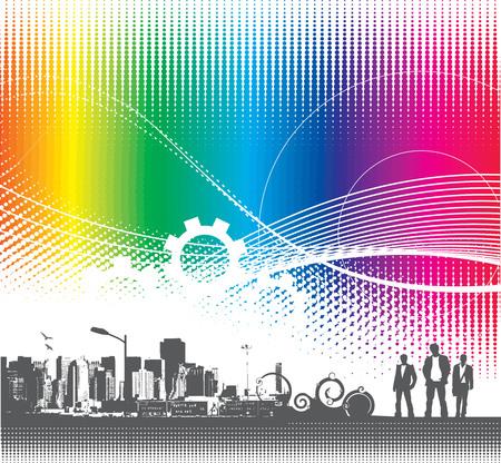 urban grunge: abstract urban grunge city background with rainbow halftone,vector illustration