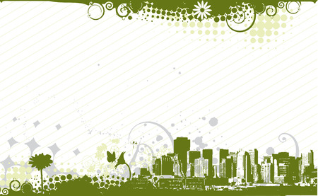 urban grunge: abstract urban grunge city background with floral halftone element Illustration