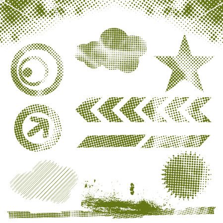 crinkles: abstract halftone design elements with grunge paint splatter Illustration