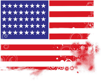 oscillation: Abstract halftone grunge floral background with usa flag