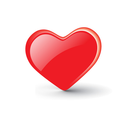vector red hearts icon on white background Stock Vector - 5600634