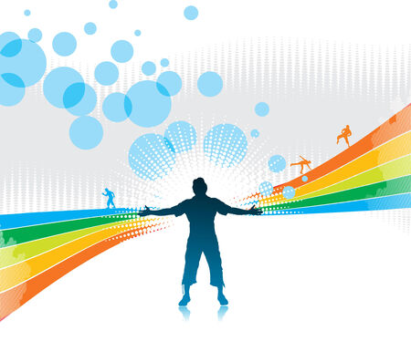 man raising his hands with rainbow wave background