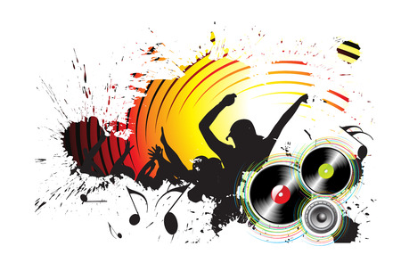 grunge silhouettes of people dancing with people blasted by music Stock Vector - 5805808