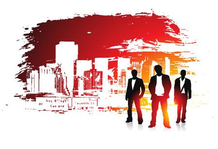 urban grunge: abstract urban grunge city background with standing businessman