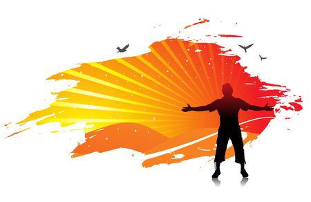 man raising his hands with sun set background Stock Vector - 5653228