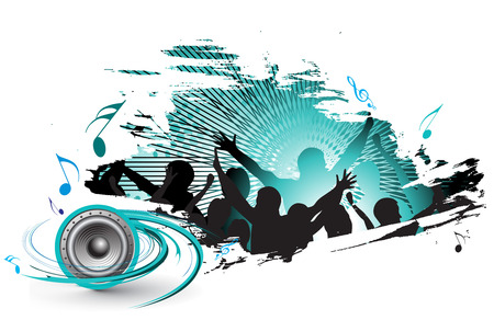 grunge silhouettes of people dancing with people blasted by music Stock Vector - 5653443