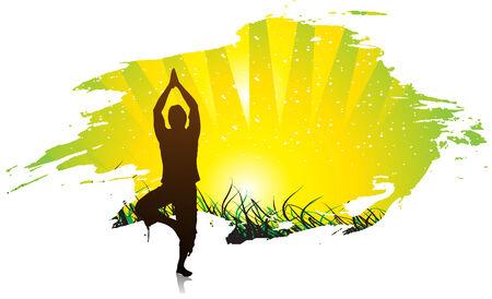 prachtige jonge jongen buitenshuis yoga oefening doen Vector Illustratie