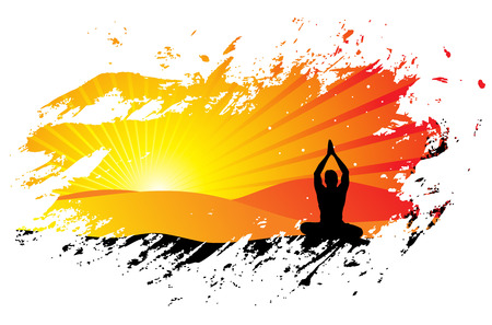 beautiful young boy doing yoga exercise outdoors Stock Vector - 5653311