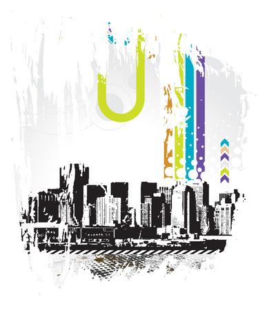 urban grunge: urban grunge city with sample text background