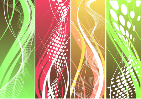 Abstract four different type wave element backgrounds for design.  Vector