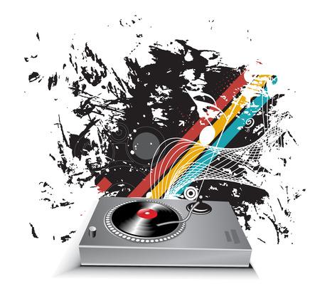 jack of clubs: turntable on grunge wave halftone line background