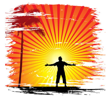 man raising his hands with sun set background Stock Vector - 5653495