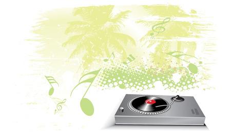 lien: Turntable on grunge urban wave lien background Illustration