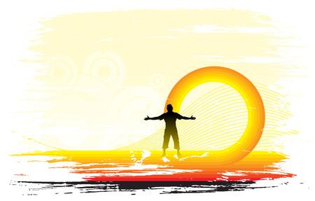 sol naciente: hombre elevar sus manos con fondo conjunto de sol, ilustraci�n vectorial.