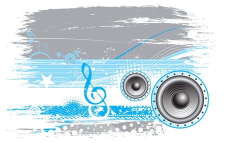 grunge music notes background with halftone background ,vector illustration  Vector