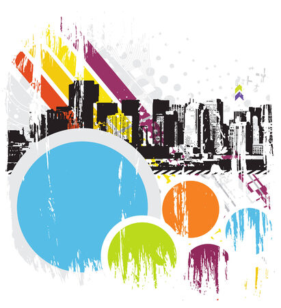Urban grunge city with sample text background - vector illustration Stock Vector - 5673273