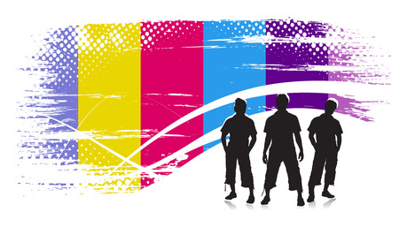Abstract rainbow urban halftone background with standing boys.  Vector