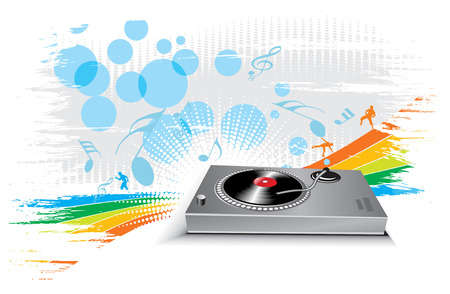turntable on wave halftone line background