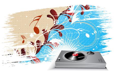 lien: turntable on grunge floral wave lien background Illustration