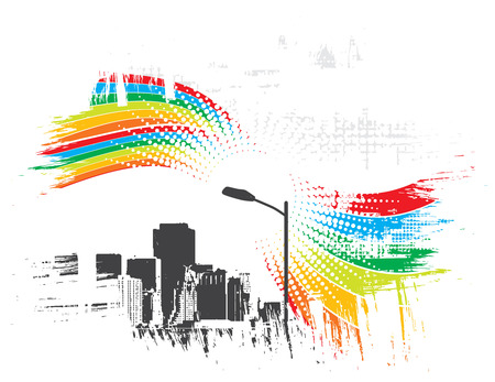 grunge rainbow wave in urban city with sample text background Vector
