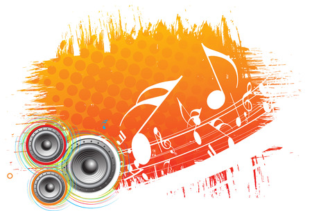 lien: 3d speaker on grunge retro wave lien background Illustration