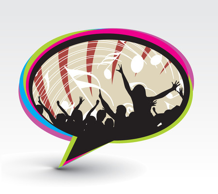 instant message:  A crowd of party people with music concept with messenger window icon