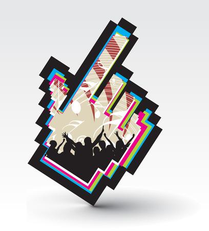 fondo luminoso: s�mbolo de rat�n con un solo toque m�sica de concierto de mano