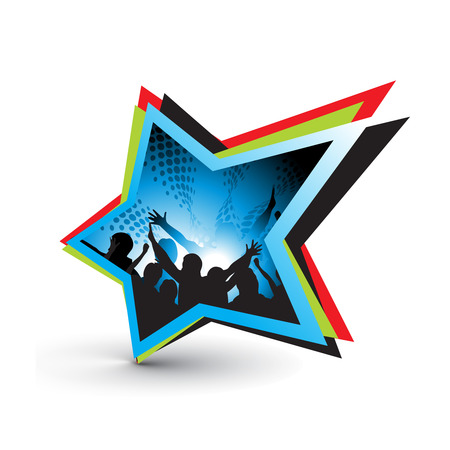 fan dance: star symbol with one touch concert music Illustration