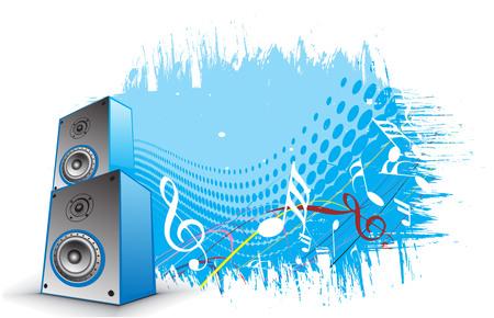 lien: 3d speaker on retro wave lien background Illustration