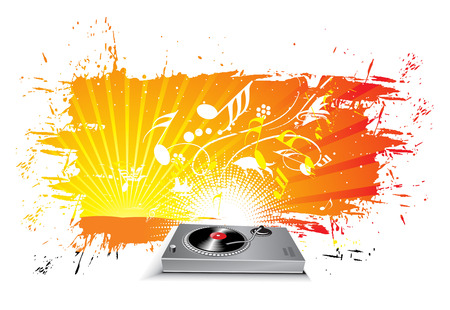 turntable on grunge urban wave line background Stock Vector - 5771695