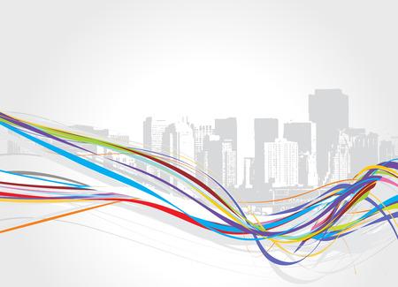 abstract urban grunge city rainbow wave background  Vector
