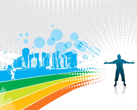 man raising his hands with rainbow wave background  Vector