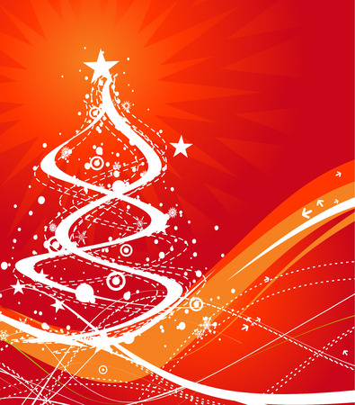 Abstract christmas tree on red background Vector