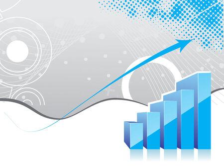 earnings: 3D Graph zeigt Anstieg der Gewinne oder Einnahmen mit Probe Texthintergrund.