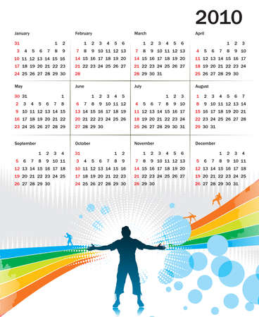 abstract futuristic background calendar for 2010 Vector