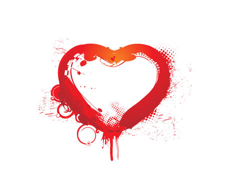 bloody splatter with grunge halftone heart Vector