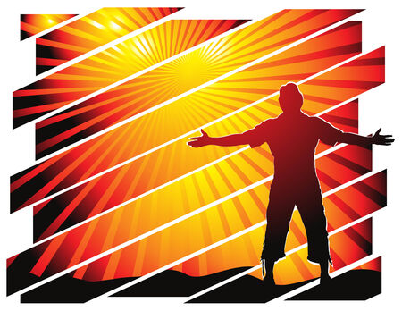 man raising his hands with crack background, illustration Stock Vector - 5801962